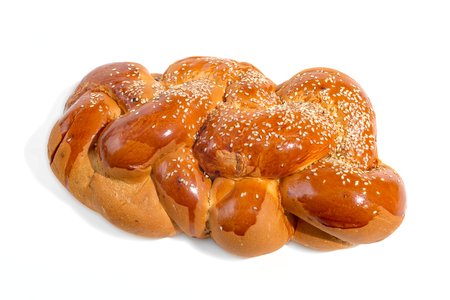 challah: Bright shabbat challah isolated on white background