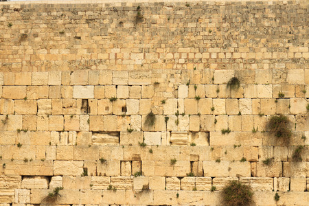 Closeup of wailing wall in Jerusalem city Stock Photo