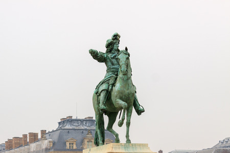 louis the rich heritage: Louis XIV on horse bronze statue in Versailles