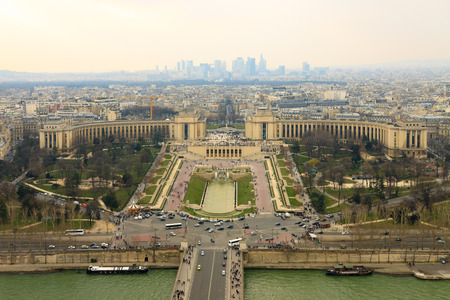 trocadero: Panorama of the Trocadero from Eiffel Tower, Paris, France