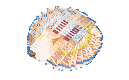 arabic currency: Round stack of hundred new israeli sheqel isolated on white background Stock Photo
