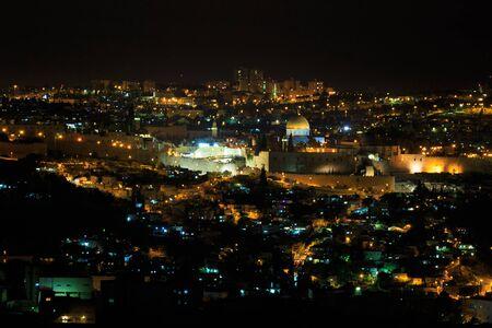 Night panorama of Jerusalem city, Israel photo