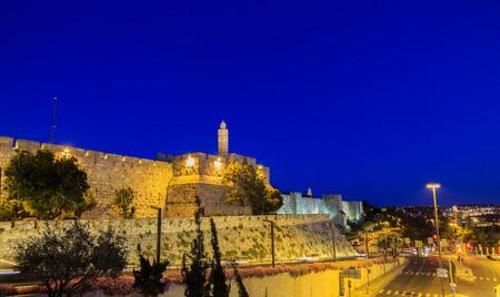 jewish group: Tower of David and Jaffa street in Jerusalem, Israel  at night