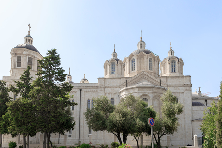 ecclesiastical: The left side of Trinity Cathedral of a Russian Ecclesiastical Mission in Jerusalem