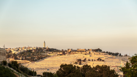 mount of olives: Panorama of Mount Olives with cemetery in Jerusalem, Israel on sunset