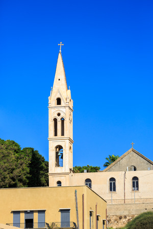 yaffo: View from street to bell tower of St. Joseph Monastery in Jaffa Stock Photo