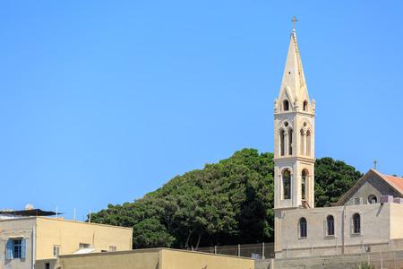 jaffa: Bell tower of St. Joseph Monastery in Jaffa Stock Photo