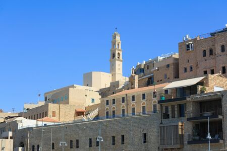 yafo: View from sea port to ancient city Jaffa in Israel, on the Mediterranean Sea Stock Photo