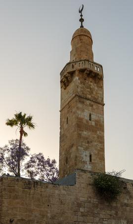 hurva: Minaret in jewish quarter Jerusalem near synagogue Hurva, Israel Stock Photo