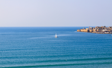 galilee: Bay of mediterranean historic city of Akko in Galilee at north Israel