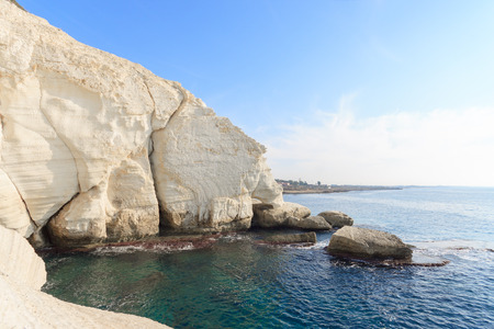 hanikra: White rock in Rosh Hanikra, Nord point of Israel