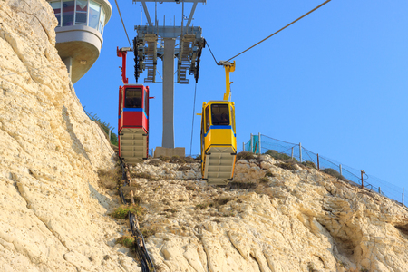 hanikra: Cableway with two cabins in Rosh Hanikra Israel Stock Photo