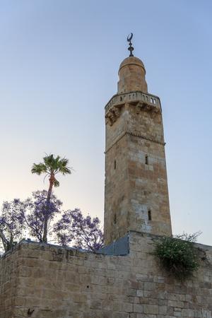 hurva: Old minaret in jewish quarter Jerusalem near synagogue Hurva, Israel