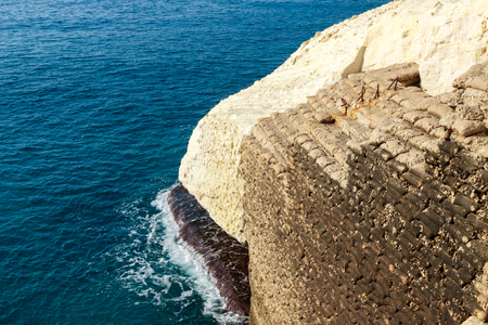 hanikra: Beach bags hardened with cement in Rosh Hanikra, Nord point of Israel