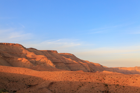 Magestic mountains landscape at the bottom of the Big Crater HaMakhtesh HaGadol in Israel