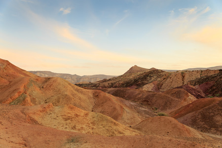 Coloured Sands at the bottom of the Big Crater HaMakhtesh HaGadol in Israel Stock Photo