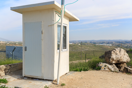 jewish houses: Guard booth in jewish settlement in Judea