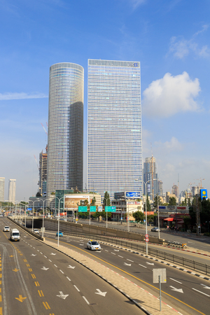 azrieli: TEL-AVIV, ISRAEL - JANUARY 22, 2016: View on Azrieli Center, square and round towers view
