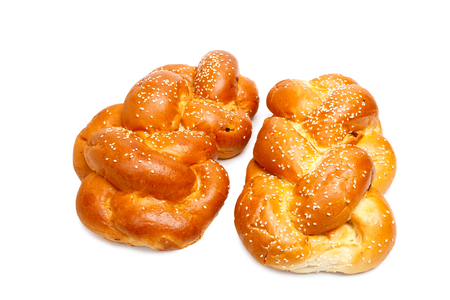 challah: Two shabbat challah isolated on white background Stock Photo