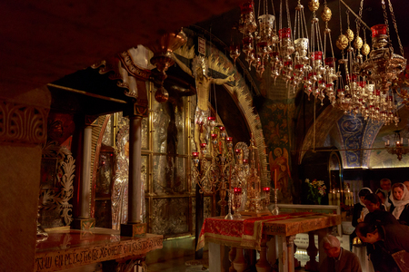 Jerusalem, Israel - Nov 06, 2016: Mount Calvary, altar in Temple of the Holy Sepulchre, Jerusalem, Israel Editorial