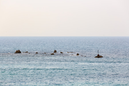 jaffo: Andromedas Rock at Mediterranean sea in Jaffo city, Israel Stock Photo