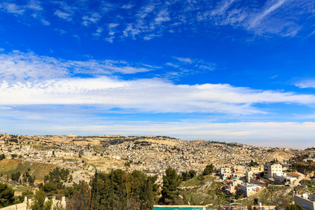 Greate heaven over wide panorama of Jerusalem
