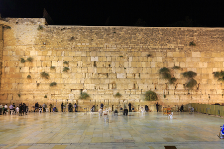 Evening pray near wailing wall in Jerusalem Stock Photo