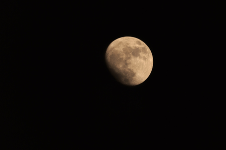 fool moon: Fool yellow moon isolated on black background Stock Photo