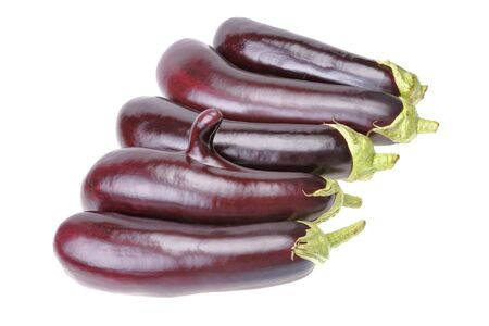 Group of aubergine with finger isolated on white background