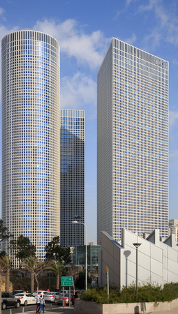 TEL-AVIV, ISRAEL - JANUARY 22, 2016: Azrieli Center, square and round towers view from Eliezer Kaplan street