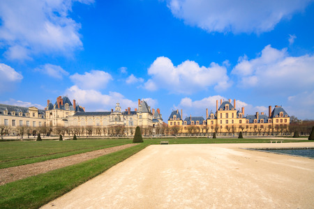 PARISFRANCE - MARCH 31, 2013: Panorama of royal palace at Fontainebleau, France Editorial