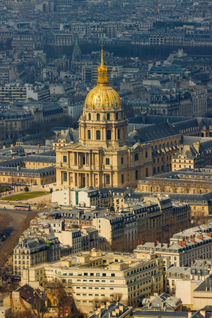 Close-up of cathedral of Les Invalides with Napoleons tomb in Paris, France Stock Photo