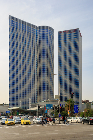 TEL-AVIV, ISRAEL - MARCH 24, 2016: Three buildings of Azrieli Center in Tel Aviv Editorial