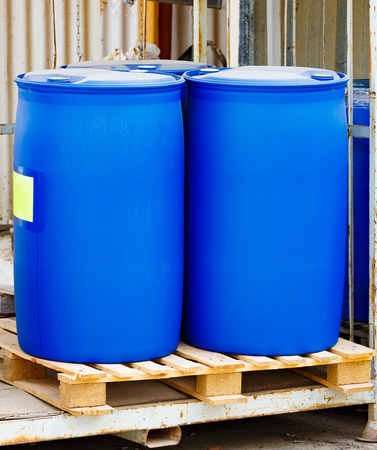 Two blue scratched barrels on a Chemical Plant