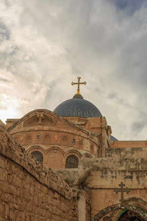 Dome on Church of the Holy Sepulchre in Jerusalem under sky