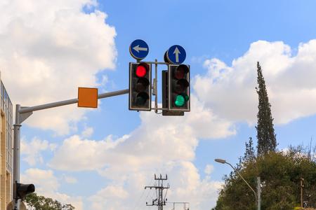 Traffic lights with straight arrow
