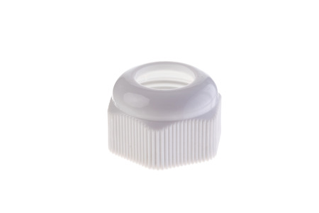 White plastic nut for water hose isolated on white background