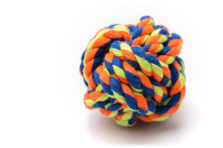 tied in: A very colorful ball made from rope tied in a monkey