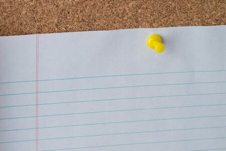 paper pin: A yellow thumb tack holding a white piece of lined loose leaf paper on a cork board.