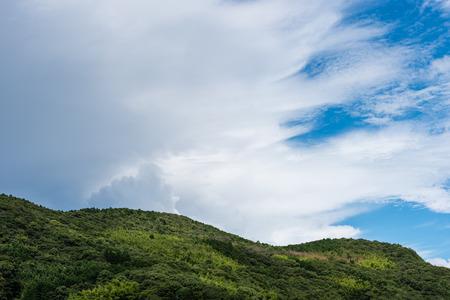 Donkere onweerswolken kruipen in op een verder helderblauwe hemel met een groene boom vol berg op de voorgrond. Stockfoto