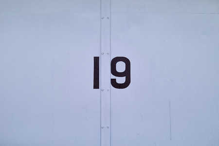 A simple blue metal door with the number 19 painted in black.