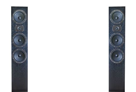 two party system: Pair of black music speakers isolated on white background Stock Photo