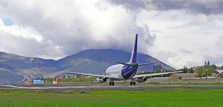 strips away: airplane  taking off Stock Photo