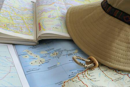 mapa geográfico de las islas Galápagos y la ciudad de Quito Foto de archivo - 705763