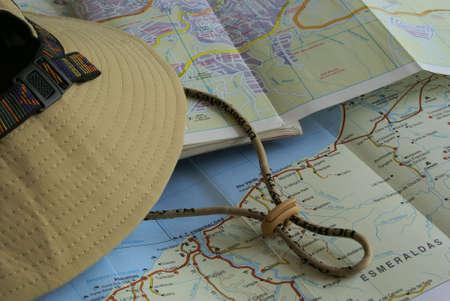 mapa geogr�fico de las islas Gal�pagos, Quito dad y una gorra de Foto de archivo - 706014