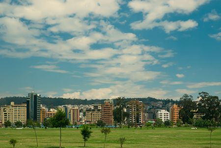 conceptually: Town park La Carolina in the centre of Quito - the capital of Ecuador Stock Photo