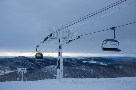 ski lift: frozen ski lift mountain background
