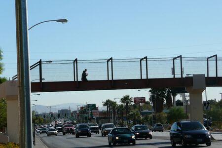 pedestrian bridges: N-US-NV  Las Vegas, Nevada - 2007-10-19:  Pedestrian Bridge Over Busy Street