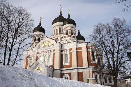 Alexandr Nevsky Cathedral Russian Orthodox Tallinn Estonia in winter photo