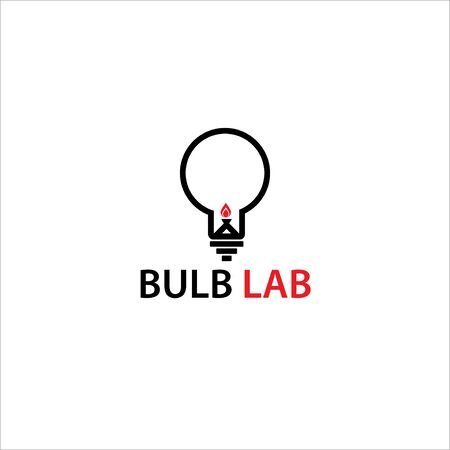 bulb with fire for lab logo